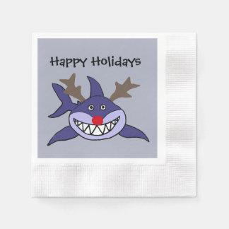 Lustiges Weihnachtshaifisch-Ren Servietten