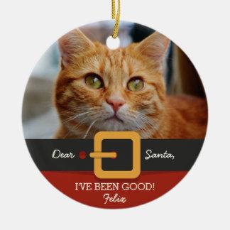 Lustiges Weihnachtssankt-Katzen-Foto und Rundes Keramik Ornament