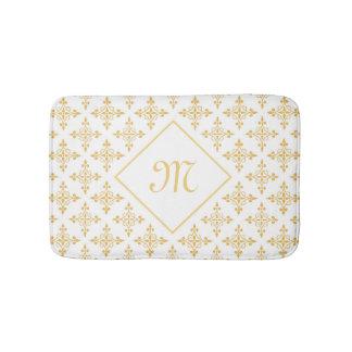 Luxusmonogramm-Weiß und Gold Quatre mit Blumen Badematte
