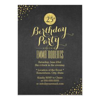 Luxusschwarz-u. Goldgeburtstags-Party 12,7 X 17,8 Cm Einladungskarte
