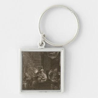 Lycaon gestaltete in einen Wolf, 1731 um (Stich) Silberfarbener Quadratischer Schlüsselanhänger