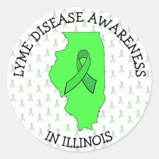 Lyme-Borreliose-Bewusstsein in Illinois-Aufklebern Runder Aufkleber