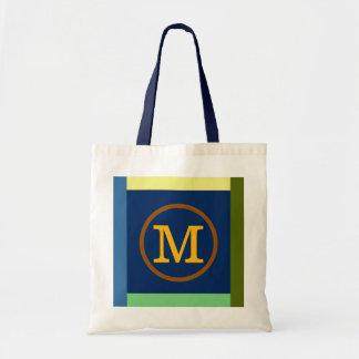 M-Initiale, -farben u. -monogramm Budget Stoffbeutel