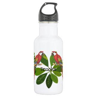 Macaw und tropisches Laub personalisiert Trinkflasche