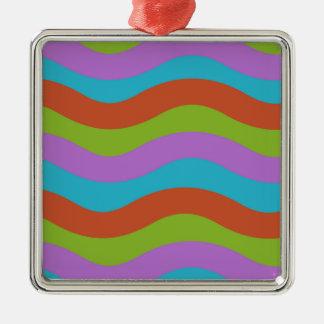 Machen Sie Wellen-Streifen glatt Quadratisches Silberfarbenes Ornament