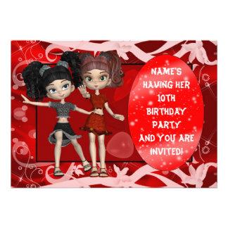 Mädchen-10. Geburtstags-Party Einladung, rot
