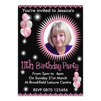 Mädchen-11. Geburtstags-Foto-Einladung