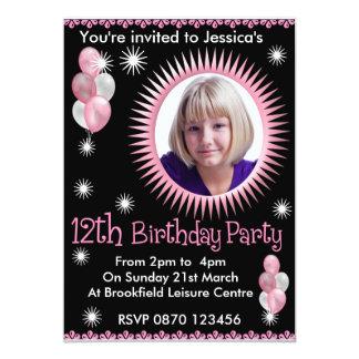 Mädchen-12. Geburtstags-Foto-Einladung