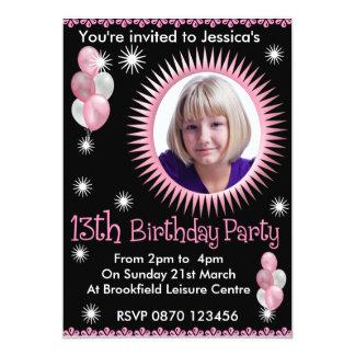 Mädchen-13. Geburtstags-Foto-Einladung