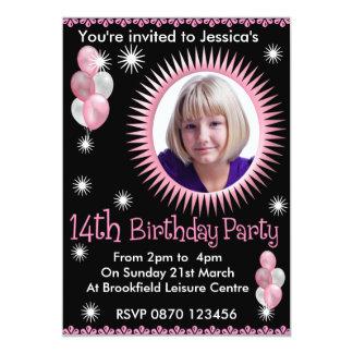 Mädchen-14. Geburtstags-Foto-Einladung 12,7 X 17,8 Cm Einladungskarte