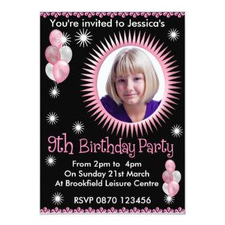 Mädchen-9. Geburtstags-Foto-Einladung 12,7 X 17,8 Cm Einladungskarte