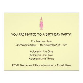 Mädchen an einer Geburtstags-Partei 10,8 X 14 Cm Einladungskarte