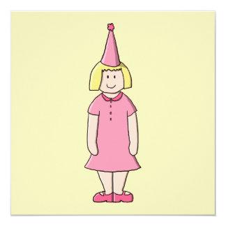 Mädchen an einer Geburtstags-Partei Quadratische 13,3 Cm Einladungskarte