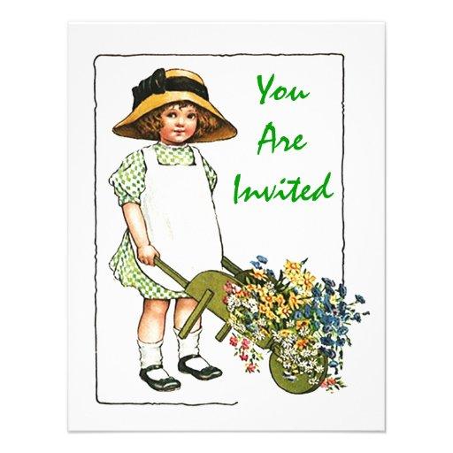 Mädchen-Ansammlungs-Blumen GEBURTSTAGS-PARTY Personalisierte Ankündigungskarte