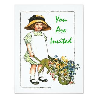 Mädchen-Ansammlungs-Blumen GEBURTSTAGS-PARTY 10,8 X 14 Cm Einladungskarte