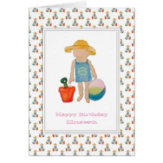 Mädchen auf Strand - glücklicher 6. Geburtstag Grußkarte