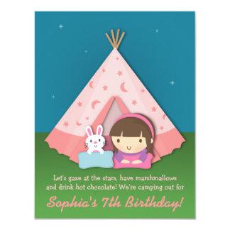 Mädchen-Campingsleepover-Geburtstags-Party 10,8 X 14 Cm Einladungskarte