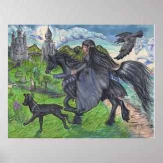 Mädchen, das schwarzes Pferd mit Serval-Katze Poster
