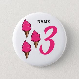 Mädchen-dritte Geburtstags-Party-Rosa-Eiscreme Runder Button 5,1 Cm