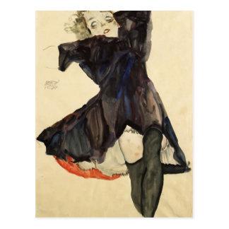 Mädchen Egon Schiele- im blauen Kleid Postkarte