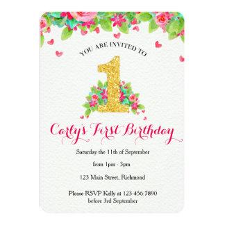 Mädchen-erste Geburtstags-Einladung - Rosa u. Gold 12,7 X 17,8 Cm Einladungskarte