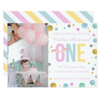 Mädchen-erste Geburtstags-Einladung - Tupfen 12,7 X 17,8 Cm Einladungskarte