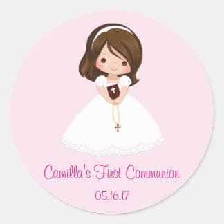 Mädchen-erster Kommunions-Aufkleber-Umschlag Runder Aufkleber