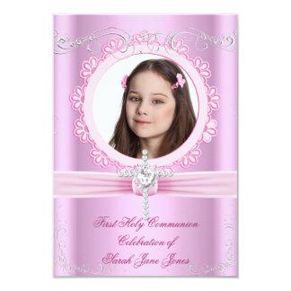 Mädchen-erstes heilige Kommunions-hübsches rosa 8,9 X 12,7 Cm Einladungskarte