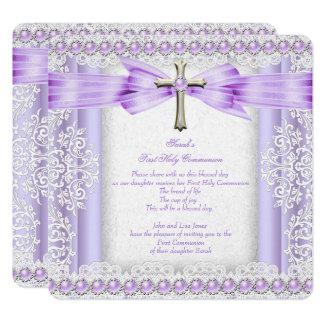 Mädchen-erstes heilige Kommunions-Kreuz-hübscher Karte