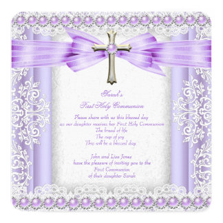Mädchen-erstes heilige Kommunions-Kreuz-hübscher Quadratische 13,3 Cm Einladungskarte
