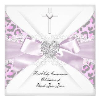 Mädchen-erstes heilige Kommunions-Rosa-weißer Karte