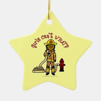 Mädchen-Feuerwehrmann Keramik Stern-Ornament