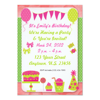 Mädchen-Geburtstags-Einladung 11,4 X 15,9 Cm Einladungskarte