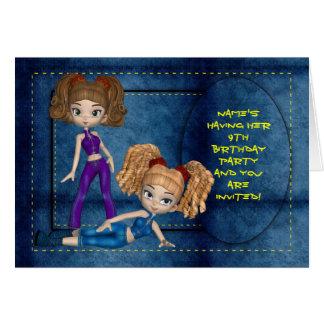 Mädchen-Geburtstags-Party Einladung, Denim-Puppen Grußkarte