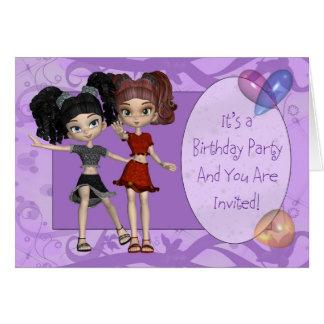 Mädchen-Geburtstags-Party Einladung, lila
