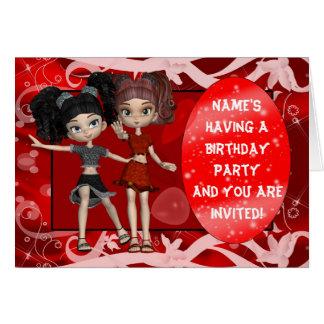 Mädchen-Geburtstags-Party Einladung, rot Grußkarte