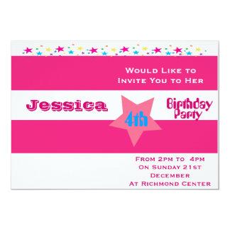 Mädchen-gestreifte Geburtstags-Party Einladungen 12,7 X 17,8 Cm Einladungskarte