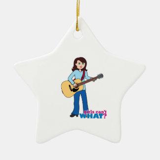 Mädchen-Gitarrist Keramik Stern-Ornament