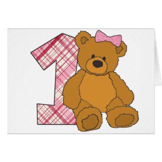 Mädchen-glücklicher 1. Geburtstags-Bär mit 1 und Grußkarte
