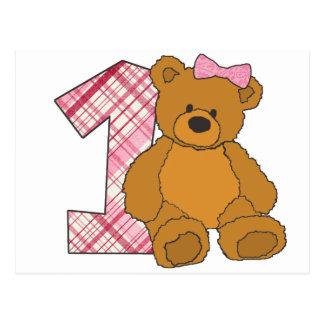 Mädchen-glücklicher 1. Geburtstags-Bär mit 1 und Postkarte