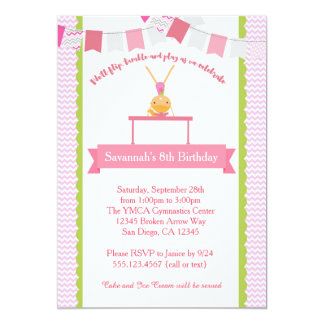 Mädchen-Gymnastik-Geburtstags-Einladung 12,7 X 17,8 Cm Einladungskarte