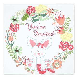 Mädchen-Häschen und Kranz-1. Geburtstags-Einladung Karte