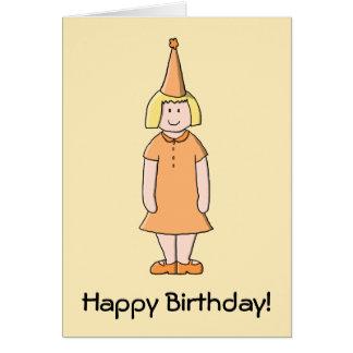 Mädchen im orange Kleider-und Geburtstags-Party-Hu Karte