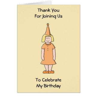 Mädchen im orange Kleider-und Geburtstags-Party-Hu Karten
