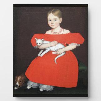 Mädchen in der roten Kleidertischplatte-Plakette Fotoplatte