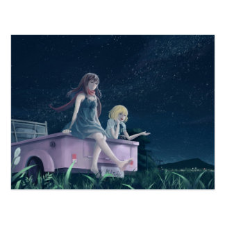 Mädchen in einem LKW-NachtzeitAnime Postkarten