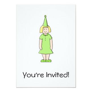 Mädchen in einer grünen Geburtstags-Ausstattung 12,7 X 17,8 Cm Einladungskarte