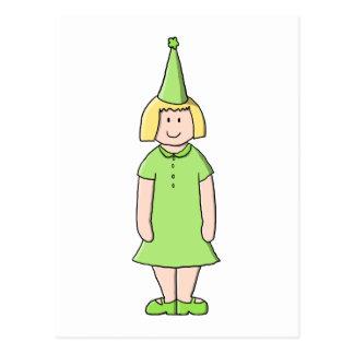 Mädchen in einer grünen Geburtstags-Ausstattung Postkarte