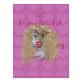 Mädchen ist es Ihr Geburtstag! Postkarte
