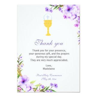 Mädchen-Kommunion danken Ihnen, Blumenlavendel zu Karte